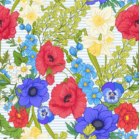 Seamless pattern with poppy flowers, daffodils, anemones, violets in botanical vintage style. On blue and white stripes background . Stock line vector illustration. Stock Illustratie
