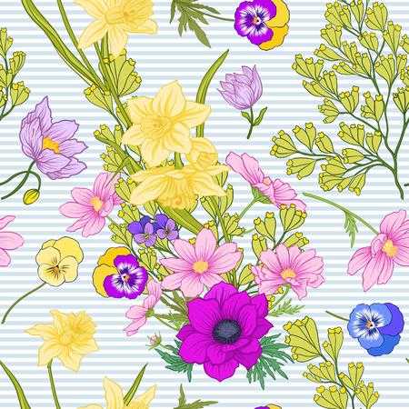 Motif sans couture avec des fleurs de pavot, des jonquilles, des anémones, des violettes en style vintage botanique. Sur fond de rayures bleues et blanches. Illustration vectorielle de ligne de stock. Banque d'images - 85719018