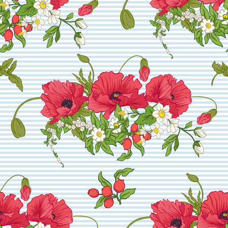 Poppy flowers, daffodils, anemones, violets in botanical vintage style on blue and white stripes illustration.