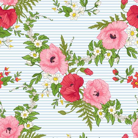 Fleurs de pavot, jonquilles, anémones, violettes dans un style botanique vintage sur illustration de rayures bleues et blanches. Banque d'images - 85719338