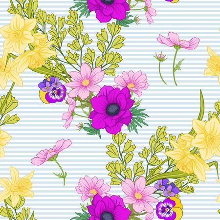 Papaverbloemen, gele narcissen, anemonen, viooltjes in botanische uitstekende stijl op blauwe en witte strepenillustratie.