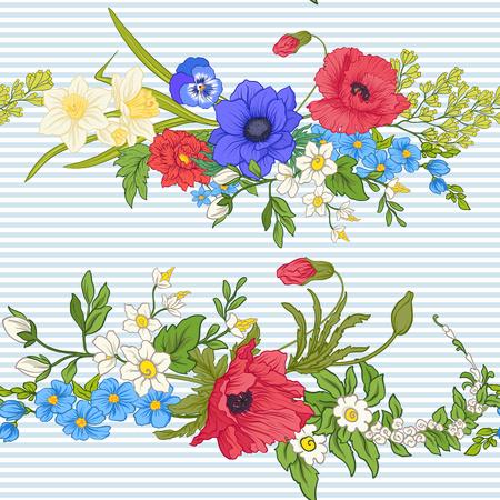 Fleurs de pavot, jonquilles, anémones, violettes dans un style botanique vintage sur illustration de rayures bleues et blanches. Banque d'images - 85719340