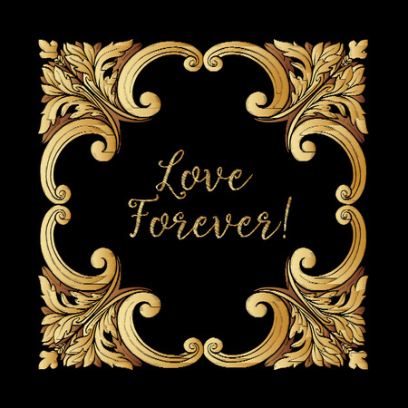 Embroidery. Embroidered design elements with gold royal frame with word love on a black background. Stock vector illustration.