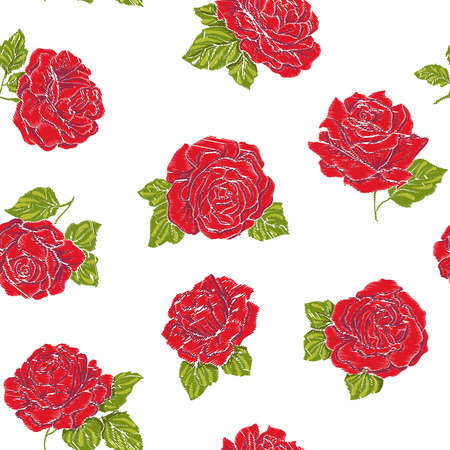 Seamless pattern with embroidery imitation red roses on white background. Stock line vector illustration.
