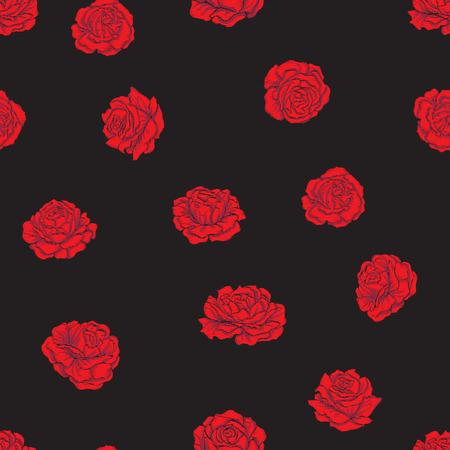 黒の背景に赤のバラを模造刺繍でシームレスなパターン。ストックラインベクトルイラスト。  イラスト・ベクター素材
