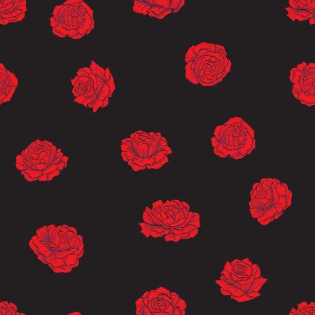 Seamless pattern with embroidery imitation red roses on black background. Stock line vector illustration. Ilustrace