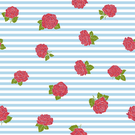 Pattern with embroidery imitation red roses on blue and white stripe background.