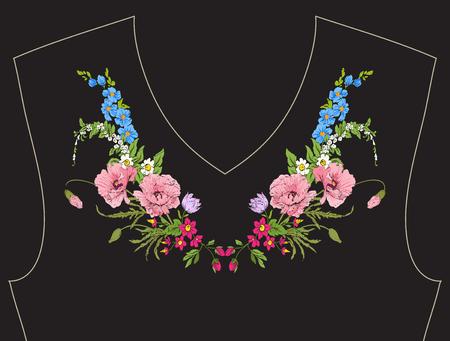 자수. 검은 배경에 식물성 스타일에 여름 꽃다발 수 놓은 디자인 요소. 목선에 좋습니다. 주식 벡터 일러스트 레이 션.