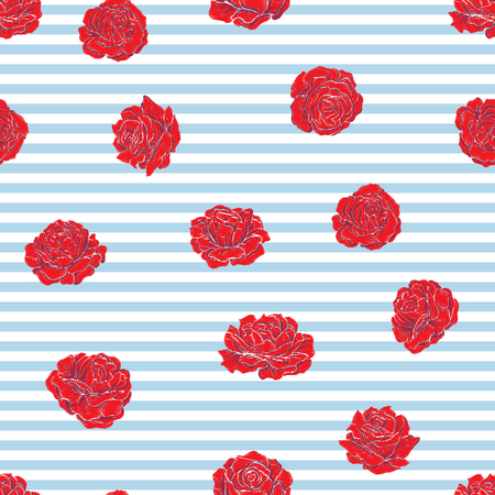Seamless pattern with embroidery imitation red roses on blue and white stripe background. Stock line vector illustration.