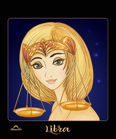Libra. A young beautiful girl In the form of one of the signs. Illusztráció