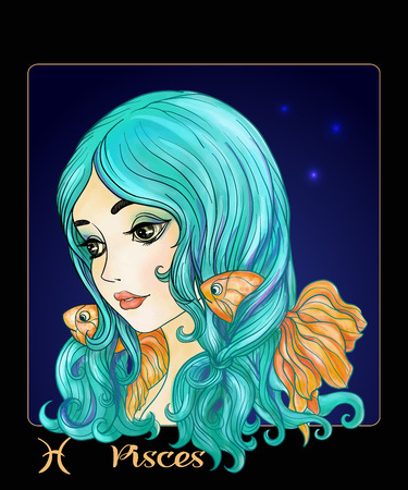 Pisces. A young beautiful girl In the form of one of the signs. Illustration