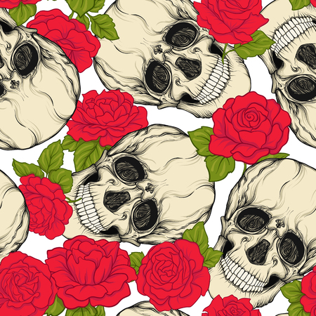 Seamless pattern, background with skull and red roses.