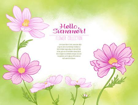 緑の水彩画の背景にコスモスの花。植物のスタイルで花、ミニマルなデザイン。碑文のための場所。こんにちは夏のストックラインベクトルイラス