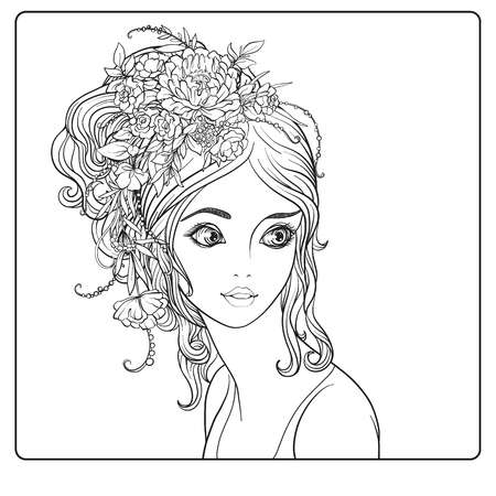 A young beautiful girl with a wreath of flowers on her head. Outline hand drawing coloring page for adult coloring book.