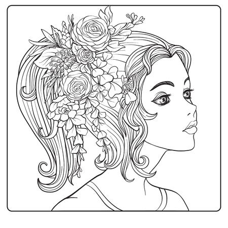 Een jong mooi meisje met een kroon van bloemen op haar hoofd. Overzichtstekening kleurplaat voor volwassen kleurboek.