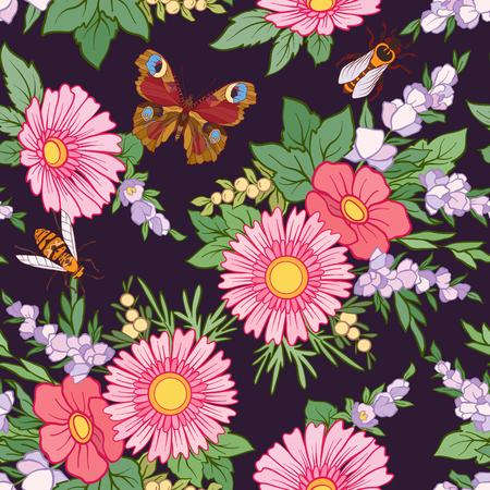 Bloemen naadloos patroon met vlinders en bijen in realistische botanische stijl. Voorraad regel vector illustratie. Op zwarte achtergrond.