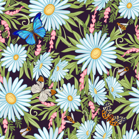 Floral seamless pattern with butterflies and bees  in realistic botanical style.  Stock line vector illustration. On black background. Illustration