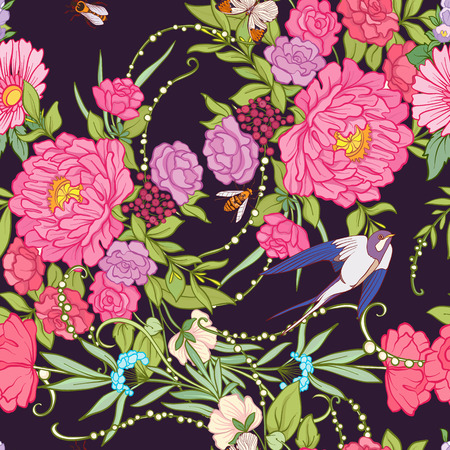 Floral seamless pattern with butterflies and bees and birds in realistic botanical style.  Stock line vector illustration. On black background.
