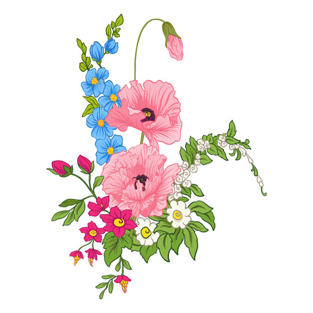 夏の花と構図: ポピー、水仙、アネモネ、バイオレットの植物のスタイル。誕生日、招待状やバナー、刺繍のためのグリーティングカードに適してい