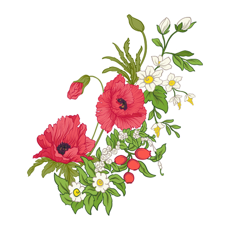 夏の花のコンポジション