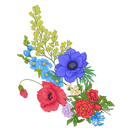 Composition with summer flowers. Illustration