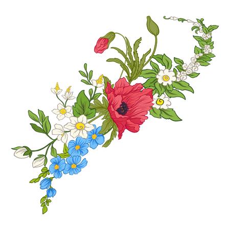 夏の花のコンポジション: ケシ、水仙、アネモネ、viole
