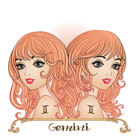 Gemini - a young beautiful girl In the form of one of the signs of the zodiac.