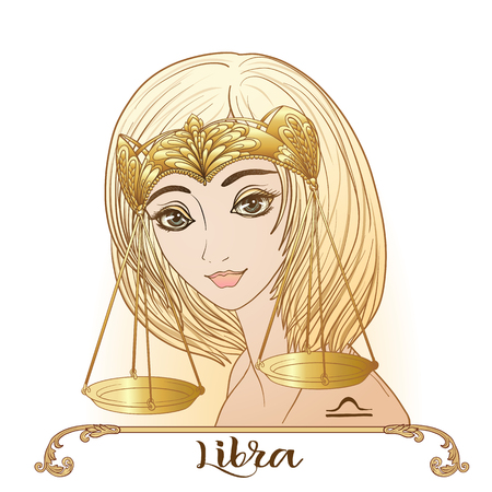 Libra - a young beautiful girl In the form of one of the signs of the zodiac.