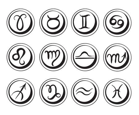 Set of symbols of horoscope signs.