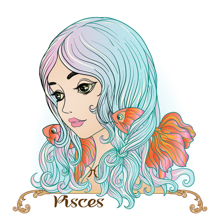Pisces. A young beautiful girl In the form of one of the signs of the zodiac. Colorful stock vector illustration.