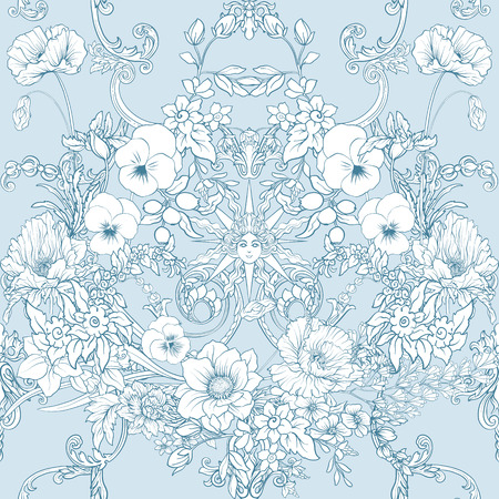 Seamless pattern with daffodils, anemones, violets in botanical vintage style with rococo decor in white and blue colors. Stock line vector illustration.