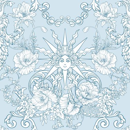 Modèle avec des jonquilles, des anémones, des violettes dans un style vintage botanique. Banque d'images - 85817863