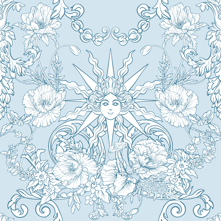 Patroon met narcissen, anemonen, viooltjes in botanische vintage stijl. Stock Illustratie