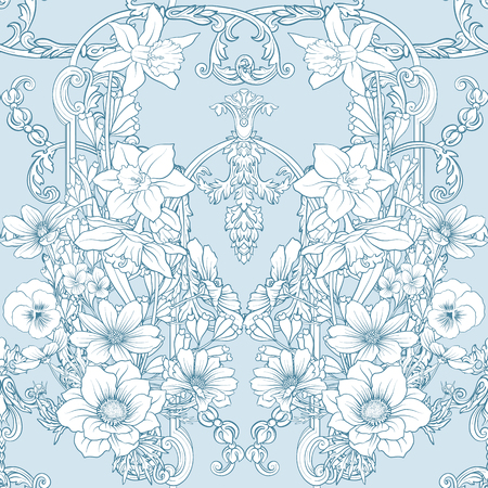 Pattern with daffodils, anemones, violets Illustration