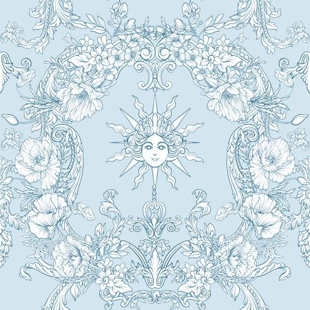 Modèle sans couture avec des jonquilles, des anémones, des violettes dans un style vintage botanique avec un décor rococo dans les couleurs blanches et bleues. Illustration vectorielle de stock ligne. Banque d'images - 85817865