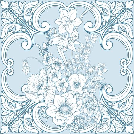Naadloos patroon met gele narcissen, anemonen, viooltjes in botanische uitstekende stijl met rococo-decor in witte en blauwe kleuren. Voorraad regel vector illustratie.