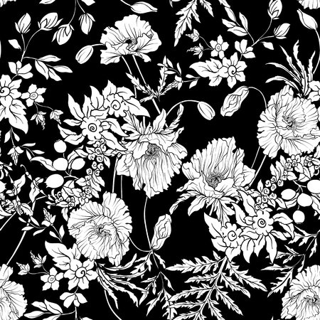 Seamless pattern with poppy flowers daffodil, anemone, violet Vectores