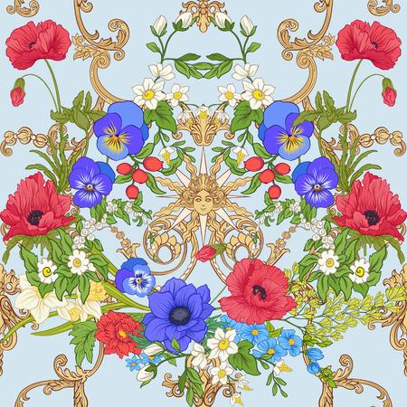Modèle sans couture avec des fleurs de pavot, des jonquilles, des anémones, des violettes dans un style vintage botanique avec un décor rococo sur fond bleu. Illustration vectorielle de stock ligne. Banque d'images - 85817888