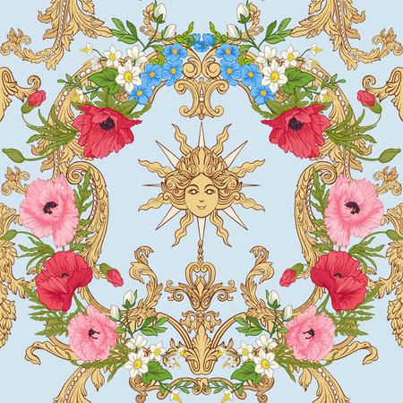 양 귀 비 꽃, 수 선화, 말미 잘, 파란색 배경에 로코코 장식 식물 빈티지 스타일에서 제비 꽃 원활한 패턴. 주식 라인 벡터 일러스트 레이 션.