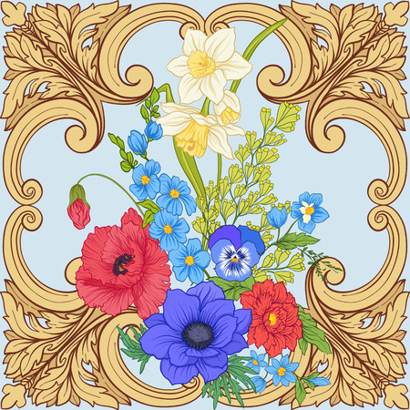 Seamless pattern with poppy flowers, daffodils, anemones, violets in botanical vintage style with rococo decor on blue background. Stock line vector illustration.