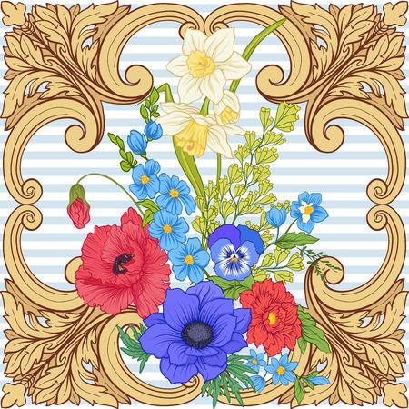 양귀비 꽃, 수선화, 말미잘, 보라색 패턴 일러스트