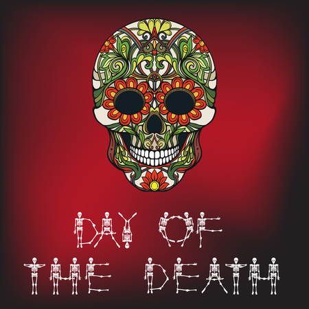 Day of the Death banner with Sugar skull.