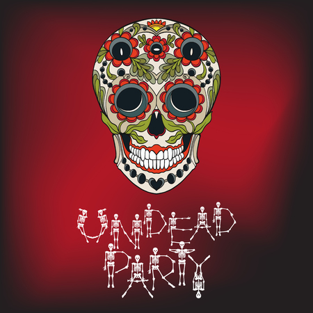 Undead party banner with Sugar skull. The traditional symbol of the Day of the Dead.