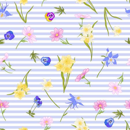 Modèle sans couture avec jonquilles, anémones, violettes en style vintage botanique avec décor rococo sur fond de rayures bleues et blanches. Illustration vectorielle de ligne de stock. Banque d'images - 85899612