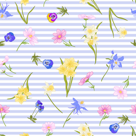 Seamless pattern with daffodils, anemones, violets in botanical vintage style with rococo decor on blue and white stripes background . Stock line vector illustration. Stock Vector - 85899612
