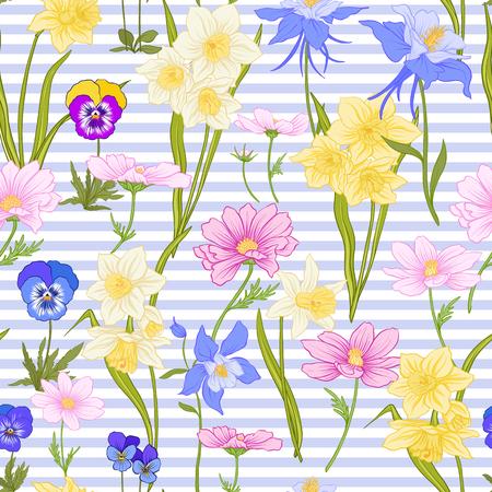 Modèle sans couture avec jonquilles, anémones, violettes en style vintage botanique avec décor rococo sur fond de rayures bleues et blanches. Illustration vectorielle de ligne de stock. Banque d'images - 85899613