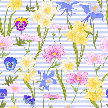 Seamless pattern with daffodils, anemones, violets in botanical vintage style with rococo decor on blue and white stripes background . Stock line vector illustration. Stock Vector - 85899613