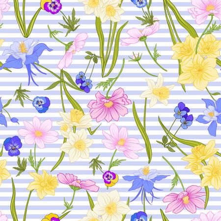 Naadloos patroon met gele narcissen, anemonen, viooltjes in botanische uitstekende stijl met rococo-decor op blauwe en witte strepenachtergrond. Voorraad regel vector illustratie. Stock Illustratie