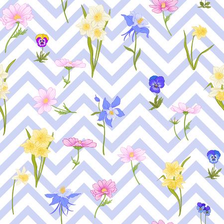 Modèle sans couture avec jonquilles, anémones, violettes en style vintage botanique avec décor rococo sur fond de rayures bleues et blanches. Illustration vectorielle de ligne de stock. Banque d'images - 85899616