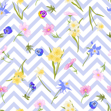 Seamless pattern with daffodils, anemones, violets in botanical vintage style with rococo decor on blue and white stripes background . Stock line vector illustration.